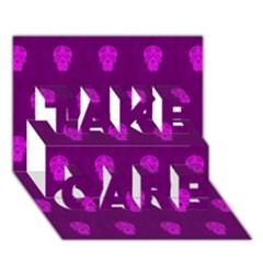 Skull Pattern Purple Take Care 3d Greeting Card (7x5)