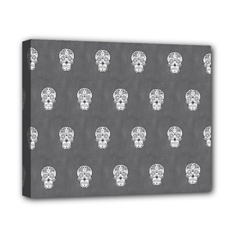Skull Pattern Silver Canvas 10  X 8  by MoreColorsinLife