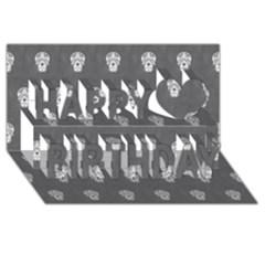 Skull Pattern Silver Happy Birthday 3d Greeting Card (8x4)