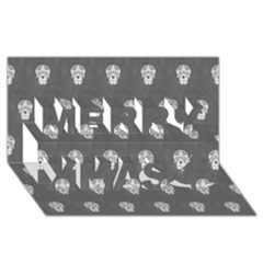 Skull Pattern Silver Merry Xmas 3d Greeting Card (8x4)  by MoreColorsinLife