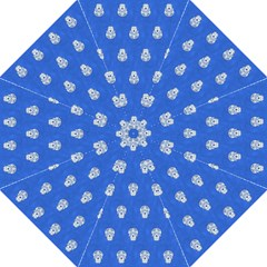 Skull Pattern Inky Blue Straight Umbrellas by MoreColorsinLife