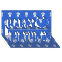 Skull Pattern Inky Blue Happy Birthday 3d Greeting Card (8x4)  by MoreColorsinLife