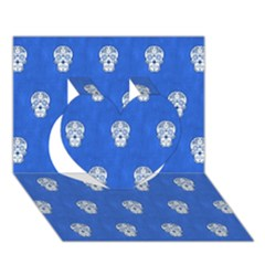 Skull Pattern Inky Blue Heart 3D Greeting Card (7x5)  by MoreColorsinLife