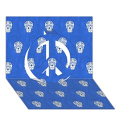 Skull Pattern Inky Blue Peace Sign 3d Greeting Card (7x5)