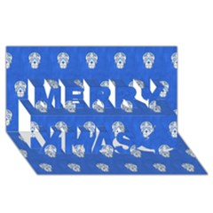 Skull Pattern Inky Blue Merry Xmas 3d Greeting Card (8x4)