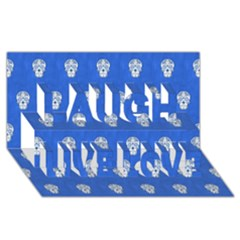 Skull Pattern Inky Blue Laugh Live Love 3d Greeting Card (8x4)