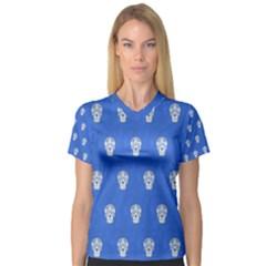 Skull Pattern Inky Blue Women s V-Neck Sport Mesh Tee