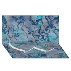 Marbled Lava Blue Twin Heart Bottom 3d Greeting Card (8x4)