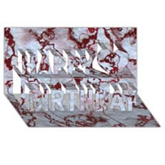 Marbled Lava Red Happy Birthday 3d Greeting Card (8x4)