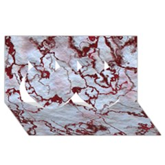 Marbled Lava Red Twin Hearts 3d Greeting Card (8x4)