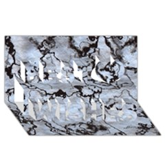 Marbled Lava White Black Best Wish 3d Greeting Card (8x4)  by MoreColorsinLife