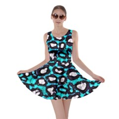Turquoise Black Cheetah Abstract  Skater Dresses by OCDesignss
