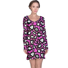 Pink Cheetah Abstract  Long Sleeve Nightdresses by OCDesignss