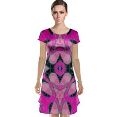 Pink Black Abstract  Cap Sleeve Nightdresses by OCDesignss