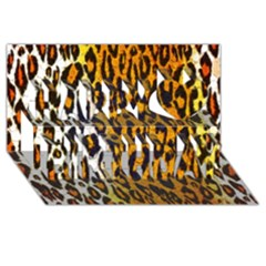 Cheetah Abstract Pattern  Happy Birthday 3d Greeting Card (8x4)