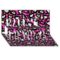 Pink Black Cheetah Abstract  Happy Birthday 3d Greeting Card (8x4)  by OCDesignss