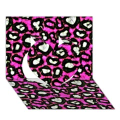 Pink Black Cheetah Abstract  Heart 3d Greeting Card (7x5)