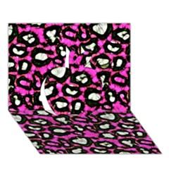 Pink Black Cheetah Abstract  Apple 3D Greeting Card (7x5)