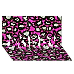 Pink Black Cheetah Abstract  Sorry 3d Greeting Card (8x4)