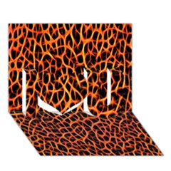 Lava Abstract Pattern  I Love You 3D Greeting Card (7x5)