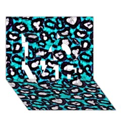 Turquoise Black Cheetah Abstract  Love 3d Greeting Card (7x5)  by OCDesignss