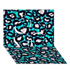 Turquoise Black Cheetah Abstract  Clover 3d Greeting Card (7x5)