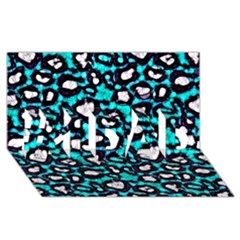 Turquoise Black Cheetah Abstract  #1 Dad 3d Greeting Card (8x4)