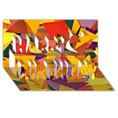 Geo Fun 8 Colorful Happy Birthday 3d Greeting Card (8x4)