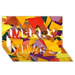 Geo Fun 8 Colorful Merry Xmas 3d Greeting Card (8x4)
