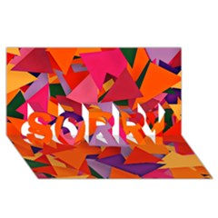 Geo Fun 8 Hot Colors Sorry 3d Greeting Card (8x4)  by MoreColorsinLife