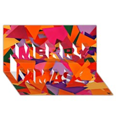 Geo Fun 8 Hot Colors Merry Xmas 3d Greeting Card (8x4)  by MoreColorsinLife