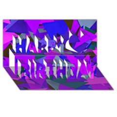 Geo Fun 8 Inky Blue Happy Birthday 3d Greeting Card (8x4)  by MoreColorsinLife