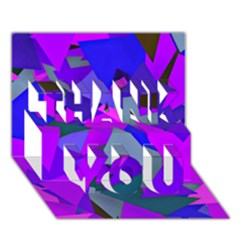 Geo Fun 8 Inky Blue Thank You 3d Greeting Card (7x5)