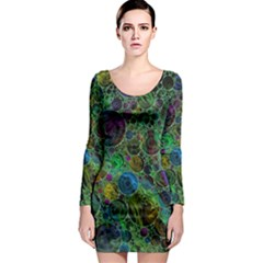Lovely Allover Bubble Shapes Green Long Sleeve Bodycon Dresses