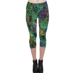 Lovely Allover Bubble Shapes Green Capri Leggings by MoreColorsinLife