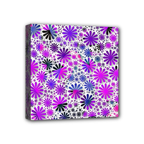 Lovely Allover Flower Shapes Pink Mini Canvas 4  X 4  by MoreColorsinLife