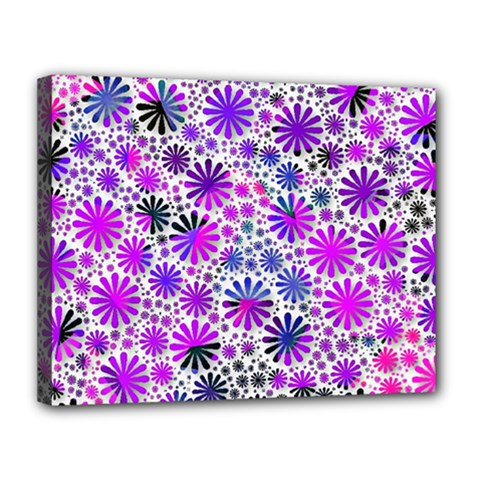 Lovely Allover Flower Shapes Pink Canvas 14  X 11  by MoreColorsinLife