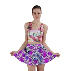 Lovely Allover Flower Shapes Pink Mini Skirts by MoreColorsinLife