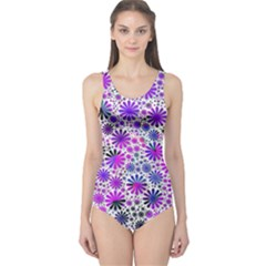 Lovely Allover Flower Shapes Pink Women s One Piece Swimsuits by MoreColorsinLife