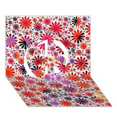 Lovely Allover Flower Shapes Peace Sign 3d Greeting Card (7x5)