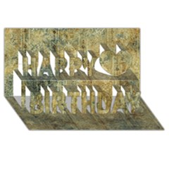 Beautiful  Decorative Vintage Design Happy Birthday 3d Greeting Card (8x4)