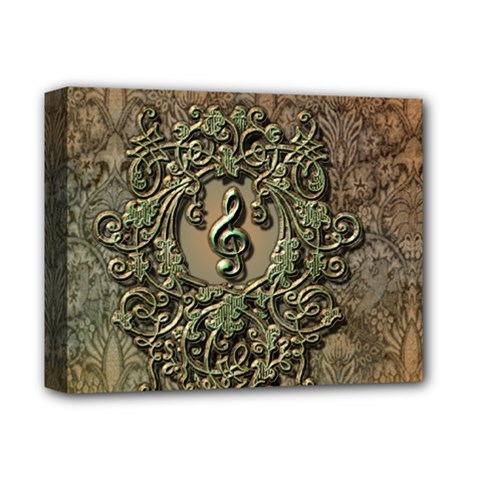 Elegant Clef With Floral Elements On A Background With Damasks Deluxe Canvas 14  X 11  by FantasyWorld7