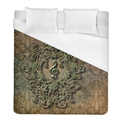 Elegant Clef With Floral Elements On A Background With Damasks Duvet Cover Single Side (Twin Size)