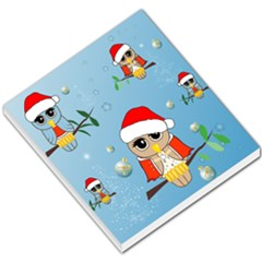 Funny, Cute Christmas Owls With Snowflakes Small Memo Pads by FantasyWorld7