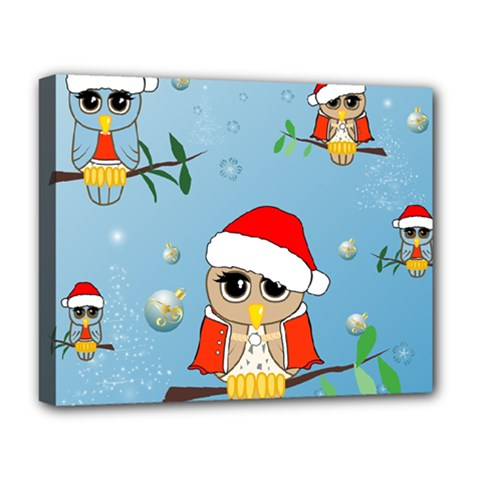 Funny, Cute Christmas Owls With Snowflakes Deluxe Canvas 20  X 16   by FantasyWorld7