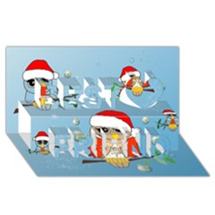 Funny, Cute Christmas Owls With Snowflakes Best Friends 3d Greeting Card (8x4)  by FantasyWorld7