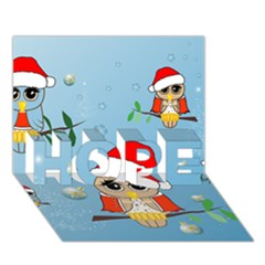 Funny, Cute Christmas Owls With Snowflakes Hope 3d Greeting Card (7x5)