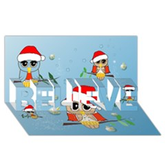 Funny, Cute Christmas Owls With Snowflakes Believe 3d Greeting Card (8x4)