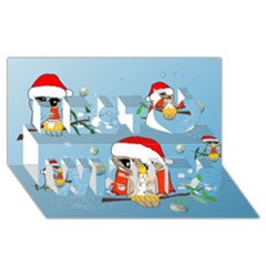 Funny, Cute Christmas Owls With Snowflakes Best Wish 3d Greeting Card (8x4)  by FantasyWorld7