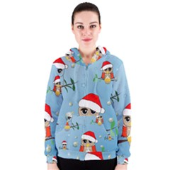Funny, Cute Christmas Owls With Snowflakes Women s Zipper Hoodies by FantasyWorld7
